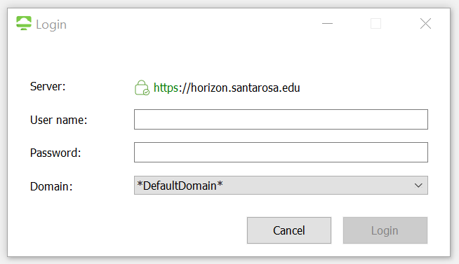 SRJC Credentials are entered in the login screen.