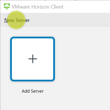 Highlighting the New Server button in the Horizon Client